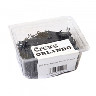 "CREWE ORLANDO 2"" BLACK WAVEY KIRBY GRIPS (PACK OF 500)"
