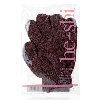 HE-SHI EXFOLIATING GLOVES - BROWN