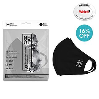 NEQI Face Mask Coverings Black M-L (3 PK)