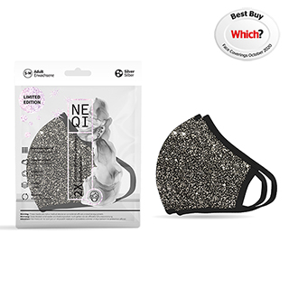 NEQI Face Coverings Black with Silver Sparkle S-M (2 PK)