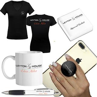 Free Gift £ - Leyton House Merchandising Bundle - Containing a draw string bag, t-shirt, mug, pens,