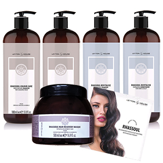 Leyton House Rhassoul - Backbar Kit - Contains 1 of Each Shampoo and Conditioner litre and 1 x Mask