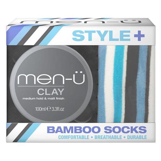 Men-U Style+ Clay 100ml With Bamboo Socks