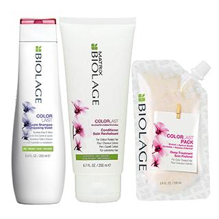 Biolage Purple Neutralising Shampoo Trio pack - Contains 250ml shampoo, 200ml conditioner and 100ml
