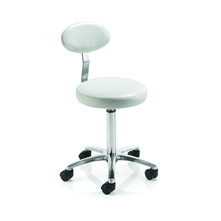 REM Cutting Stool with Backrest - White