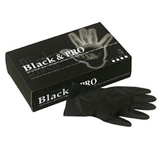 BLACK & PRO LATEX HAIRDRESSERS GLOVES SMALL 6.5 (20s)